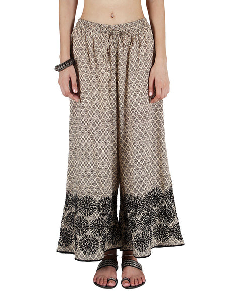 Chikankari Embroidered Fusion Palazzo Pants from Lucknow In Beige - VD-APLUP30JY7