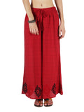 Chikankari Embroidered Fusion Palazzo Pants from Lucknow In Red - VD-APLUP30JY10