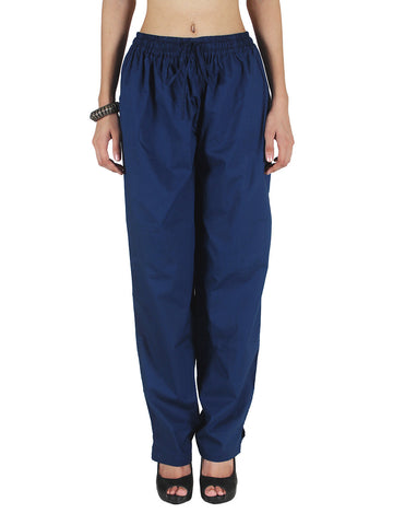 Cotton Straight Pants From Madhya Pradesh In Dark Blue - PJRTSD27JN2
