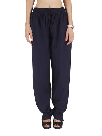 Cotton Straight Pants From Madhya Pradesh In Deep Blue - PJRTSD27JN6