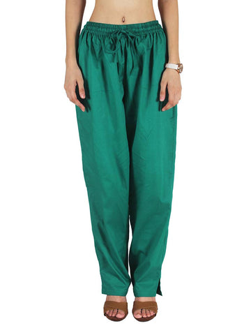 Cotton Straight Pants From Madhya Pradesh In Dark Green - PJRTSD27JN3