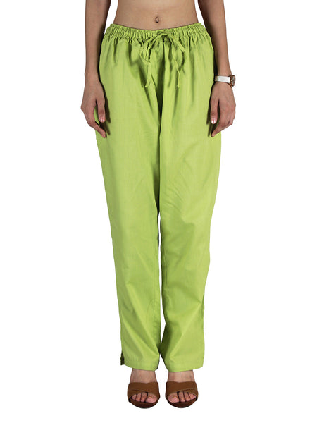 Cotton Straight Pants From Madhya Pradesh In Light Green - PJRTS18JN2