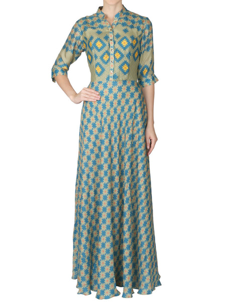 Long Dress In Mehendi Green - S2-SPAD4FB7