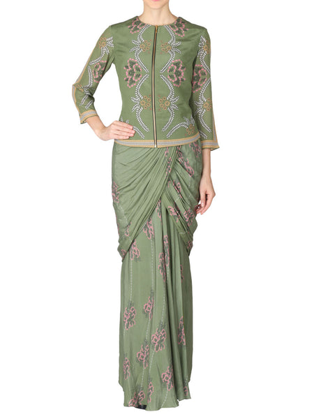 Saree & Jacket In Mehendi Green - S2-SPAD4FB9