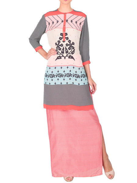 Long Kurta With Skirt In Off White - S2-SPAT4FB14