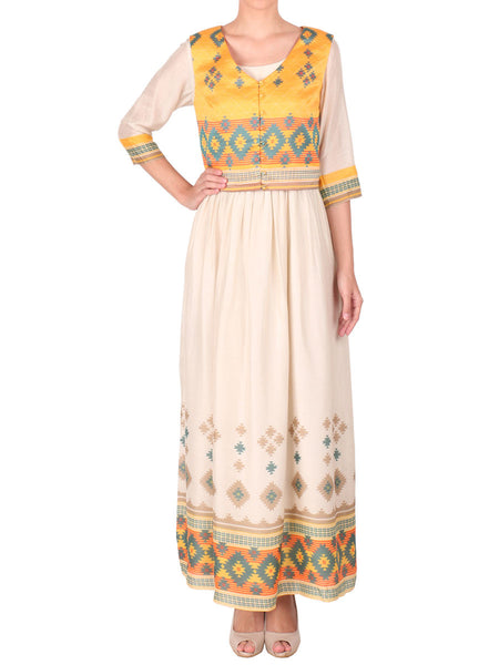 Cotton Silk Long Ankle Length Dress With Koti In Off White & Yellow - S2-SPAT29FB5