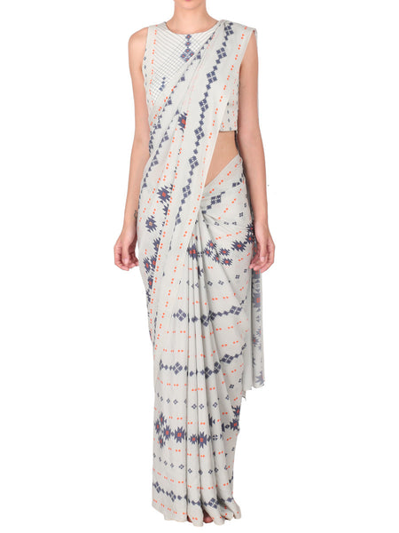 Crepe Saree With Stitched Blouse From Mumbai In Light Grey - S2-SPAS29FB12