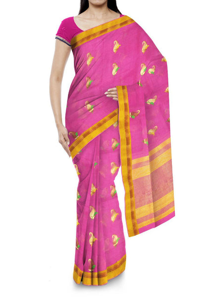 Kota Doria Handloom Saree From Kota In Pink - IN-PKRSA2AG11