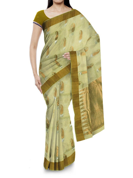 Kota Doria Handloom Saree From Kota In Beige - IN-PKRSA2AG13