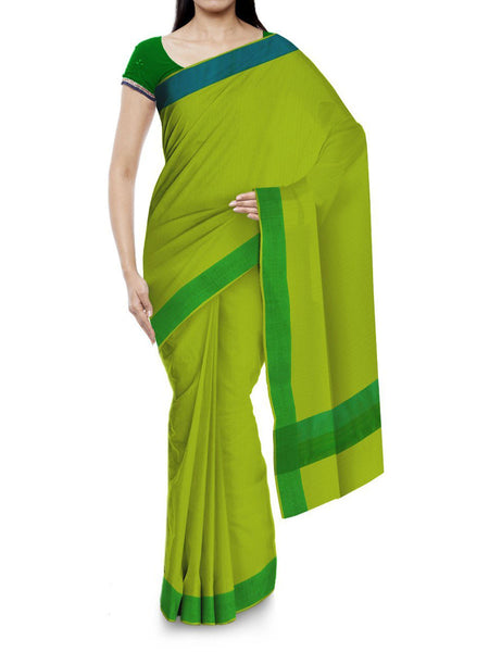 Kota Doria Handloom Saree From Kota In Green - IN-PKRSA2AG14
