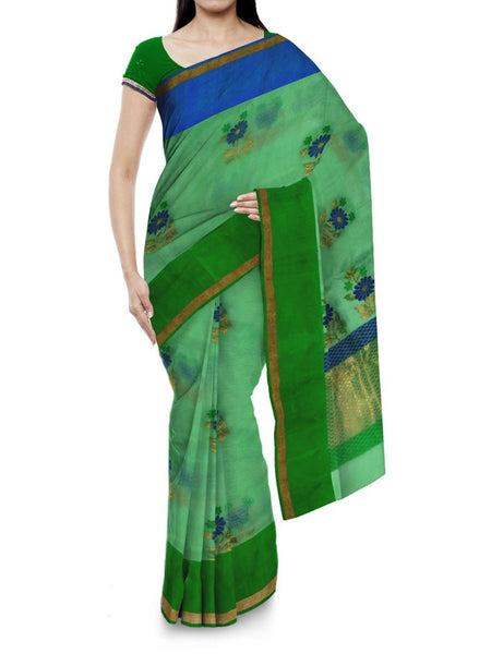 Kota Doria Handloom Saree From Kota In Green - IN-PKRSA2AG6