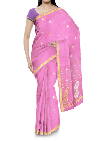 Kota Doria Handloom Saree From Kota In Pink - IN-PKRSA2AG7
