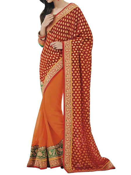 Orange Colour Fancy Jacquard Traditional Designer Occation Wear Saree With Matching Blouse Piece From West Bengal - PWBSAI6MH1