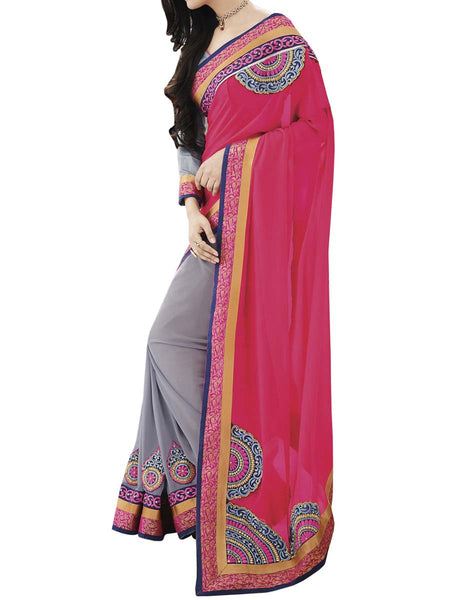 Pink Colour Georgette Traditional Designer Occation Wear Saree With Matching Blouse Piece From West Bengal - PWBSAI6MH4