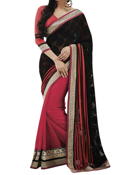 Black Colour Brasso Traditional Designer Occation Wear Saree With Matching Blouse Piece From West Bengal - PWBSAI6MH8
