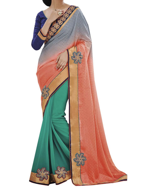 Multi Colour Fancy Jacquard Traditional Designer Occation Wear Saree With Matching Blouse Piece From West Bengal - PWBSAI6MH11