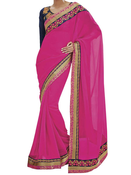 Magenta Colour Georgette Traditional Designer Occation Wear Saree With Matching Blouse Piece From West Bengal - PWBSAI6MH12