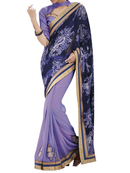 Violet Colour Brasso Traditional Designer Occation Wear Saree With Matching Blouse Piece From West Bengal - PWBSAI6MH13