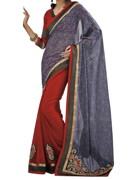 Grey Colour Fancy Jacquard Traditional Designer Occation Wear Saree With Matching Blouse Piece From West Bengal - PWBSAI6MH15