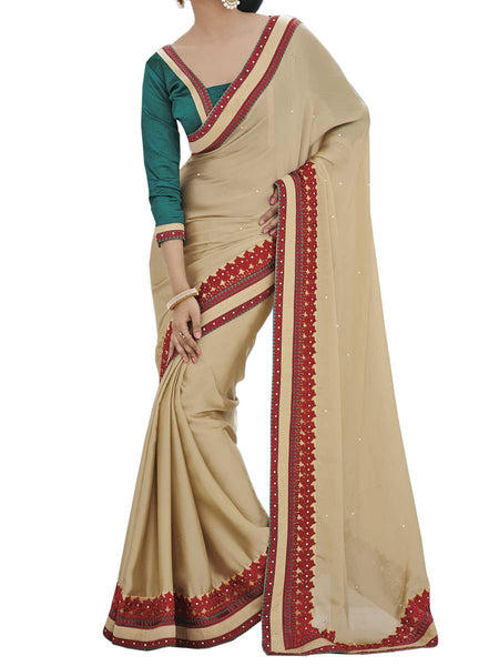 Cream Colour Satin Chiffon Traditional Designer Occation Wear Saree With Matching Blouse Piece From West Bengal - PWBSAI6MH16