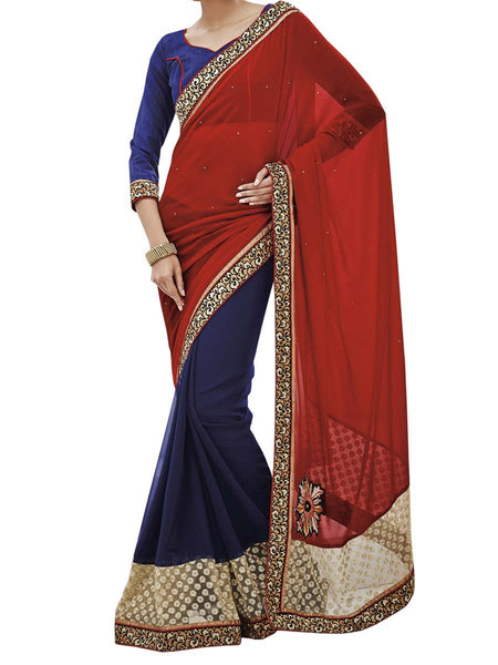 Red Colour Georgette Traditional Designer Occation Wear Saree With Matching Blouse Piece From West Bengal - PWBSAI6MH17