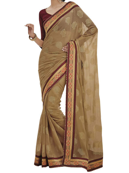 Light Gold Colour Chiffon Traditional Designer Occation Wear Saree With Matching Blouse Piece From West Bengal - PWBSAI6MH18