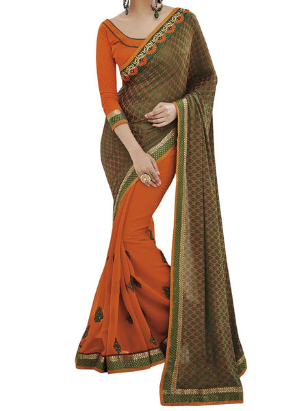 Green/Orange Colour Fancy Jacquard Traditional Designer Occation Wear Saree With Matching Blouse Piece From West Bengal - PWBSAI6MH20