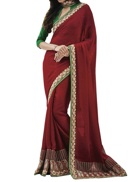 Maroon Colour Crepe Jacquard Traditional Designer Occation Wear Saree With Matching Blouse Piece From West Bengal - PWBSAI6MH21