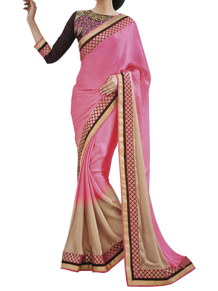 Pink Colour Satin Chiffon Traditional Designer Occation Wear Saree With Matching Blouse Piece From West Bengal - PWBSAI6MH23