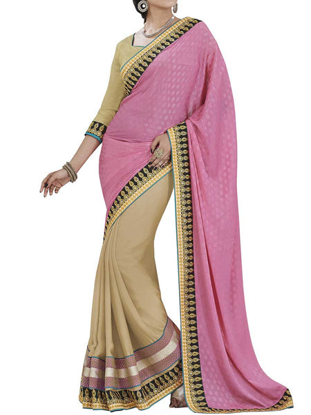 Pink Colour Tureky Jacquard Traditional Saree - PWBSAI2MH2