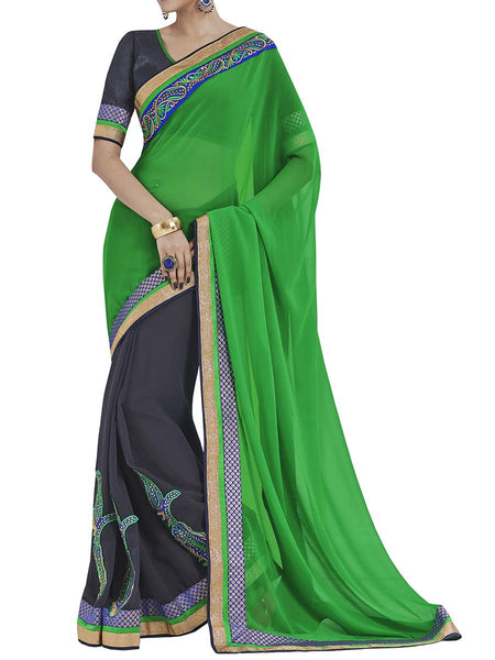 Green Colour Georgette Traditional Saree - PWBSAI2MH8