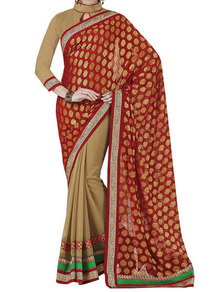 Red Colour Viscose Traditional Saree - PWBSAI2MH9