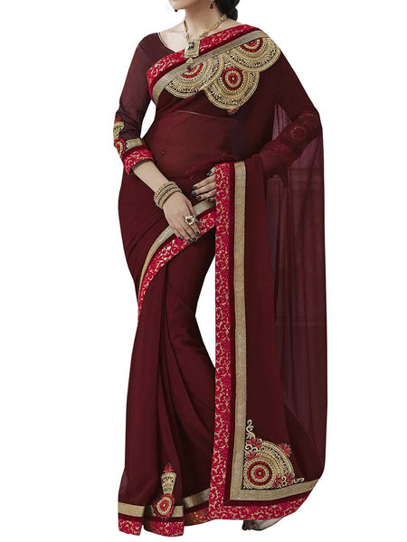 Wine Colour Chiffon Traditional Saree - PWBSAI2MH12