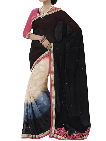 Black Colour Georgette Traditional Saree - PWBSAI2MH15