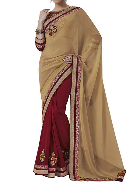 Beige Colour Chiffon Traditional Saree - PWBSAI2MH26