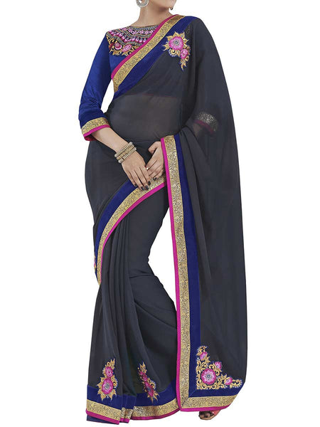 Grey Colour Georgette Traditional Saree - PWBSAI2MH28