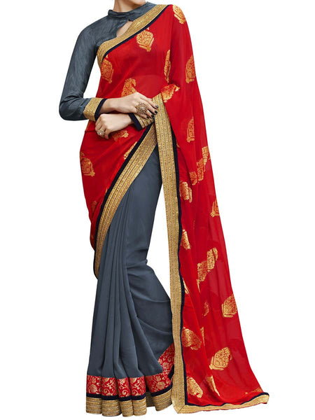 Red & Grey Colour Viscose Jacquard Traditional Designer Occation Wear Saree With Matching Blouse Piece From West Bengal - PWBSAI5MH1