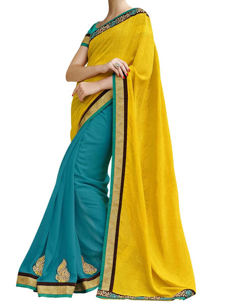 Yellow & Turquoise Colour Self Jacquard Traditional Designer Occation Wear Saree With Matching Blouse Piece From West Bengal - PWBSAI5MH5