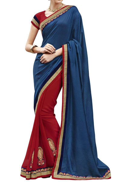 Navy Blue & Red Colour Self Jacquard Traditional Designer Occation Wear Saree With Matching Blouse Piece From West Bengal - PWBSAI5MH13