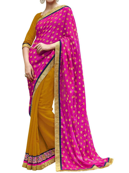 Pink & Yellow Colour Viscose Jacquard Traditional Designer Occation Wear Saree With Matching Blouse Piece From West Bengal - PWBSAI5MH14