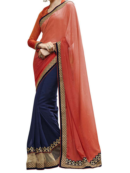 Orange & Navy Blue Colour Satin Chiffon Traditional Designer Occastion Wear Saree With Matching Blouse Piece From West Bengal - PWBSAI5MH16