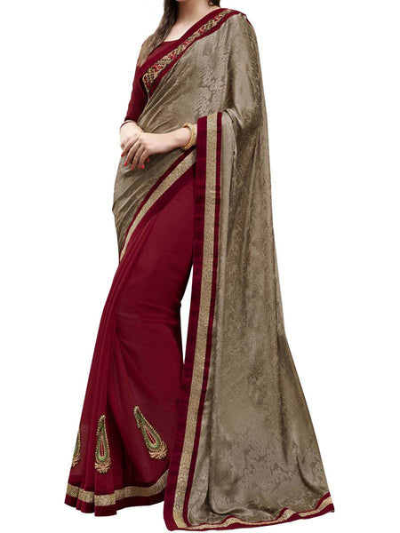 Chocolate Brown & Maroon Colour Crepe Jacquard Traditional Designer Occation Wear Saree With Matching Blouse Piece From West Bengal - PWBSAI5MH18