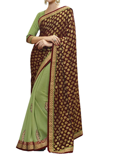 Maroon & Green Colour Viscose Jacquard Traditional Designer Occation Wear Saree With Matching Blouse Piece From West Bengal - PWBSAI5MH20