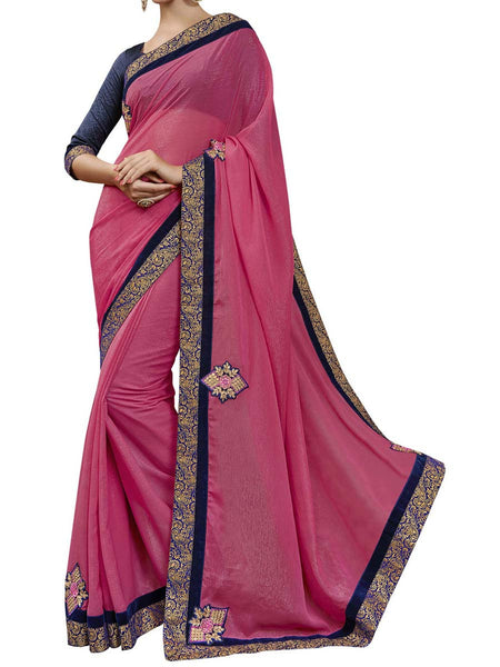 Pink Colour Sparkle  Chiffon Traditional Designer Occation Wear Saree With Matching Blouse Piece From West Bengal - PWBSAI5MH21