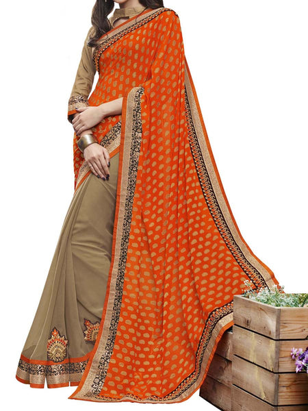 Orange & Beige Colour Viscose Jacquard Traditional Designer Occation Wear Saree With Matching Blouse Piece From West Bengal - PWBSAI5MH23