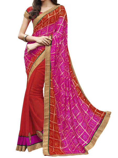 Pink & Red Colour Bandhani Print Traditional Designer Occation Wear Saree With Matching Blouse Piece From West Bengal - PWBSAI5MH24