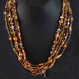 Necklace Brass Beads In Brown-CHUJN22J14
