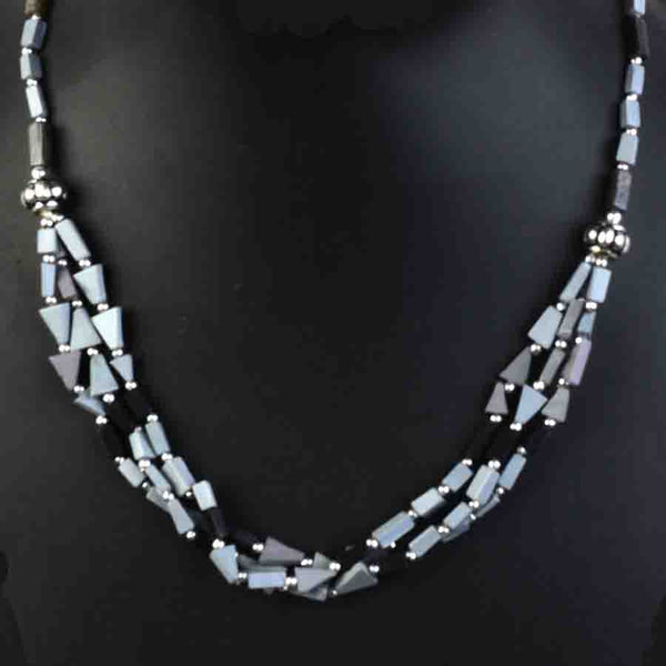 Necklace Brass Beads In Gray-CHUJN22J15