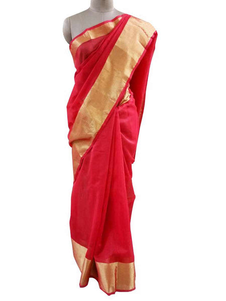 Red Kota Cotton Zari Border Saree with Running Blouse  - AC-PSA11AG51