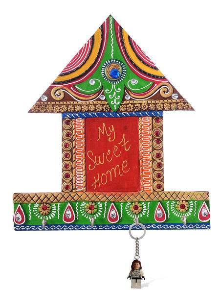 My Sweet home Hut Shape Papier-Mache Wooden Keyholder - EC-HJRME24MA313